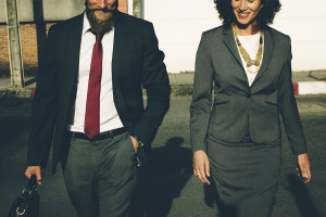 man and woman business attire