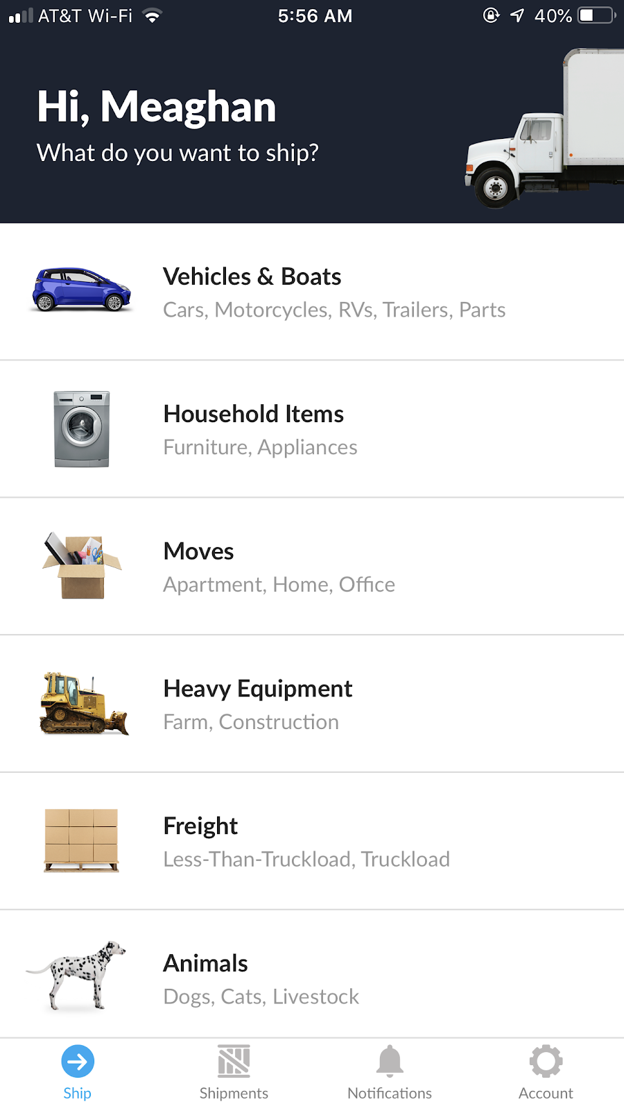 screenshot of uShip's mobile app