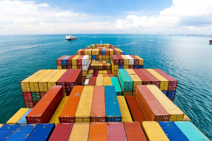 Container ship carrying container box in import export