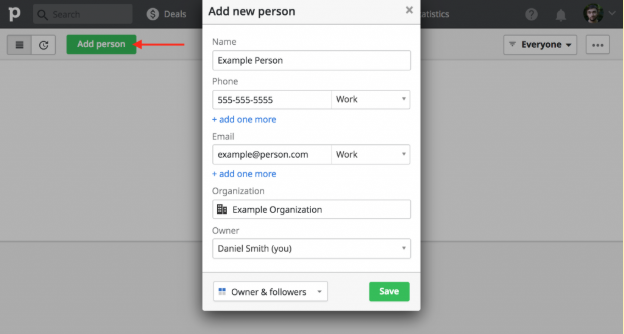 how to enter contacts in Pipedrive