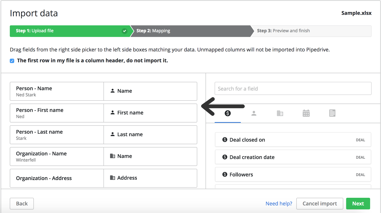 Mapping existing contact data in Pipedrive