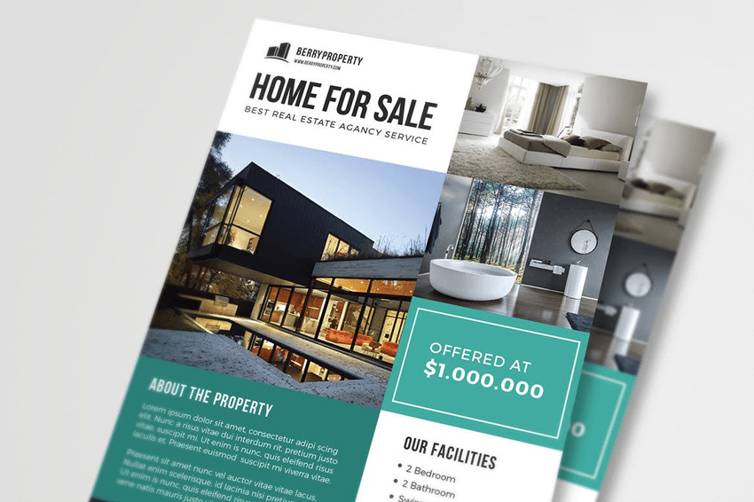 Adobe Illustrator and Photoshop based real estate flyers