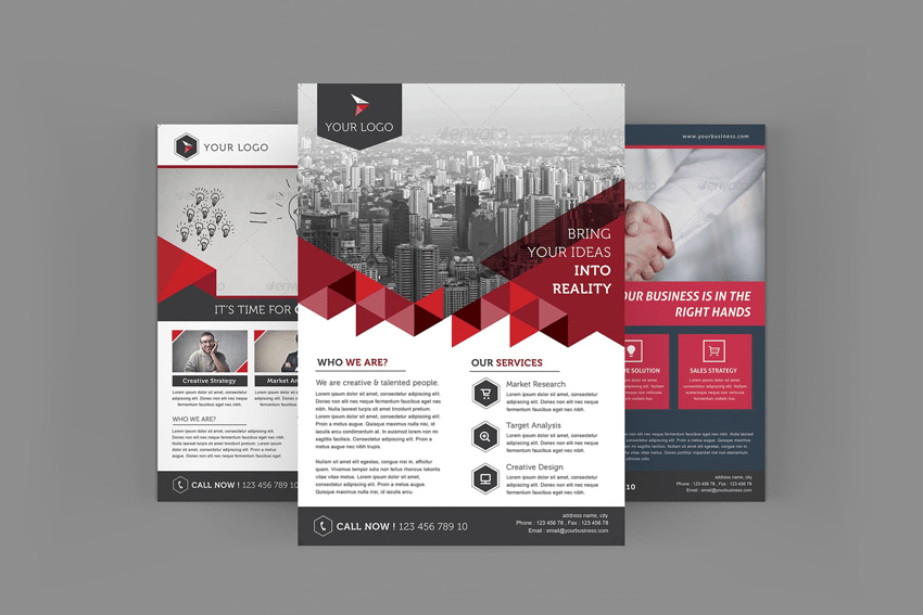 Adobe Illustrator real estate flyer template from Envato