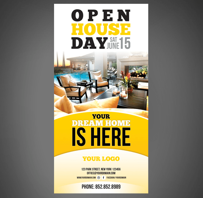 Adobe Photoshop real estate open house flyer template