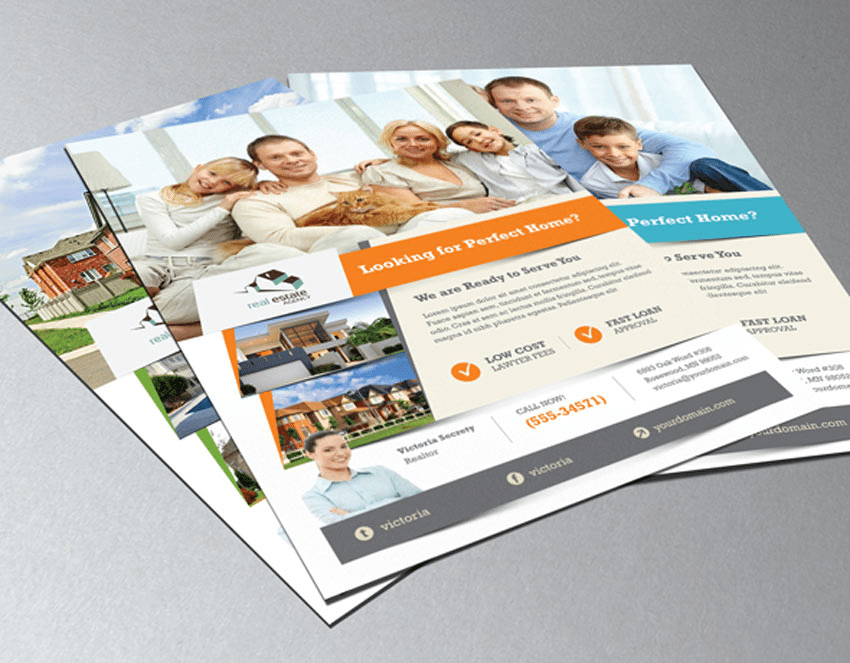 Adobe Photoshop and InDesign real estate flyer template