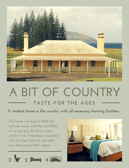 Country House by Canva real estate flyer example
