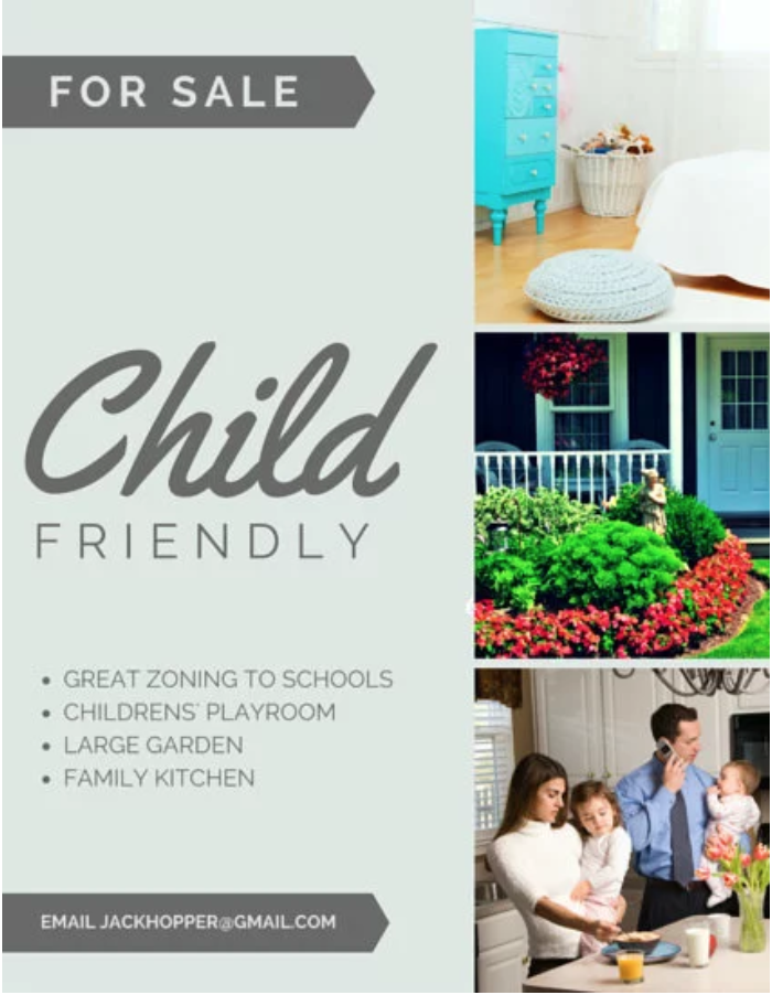 Child friendly flyer by Canva real estate flyer example