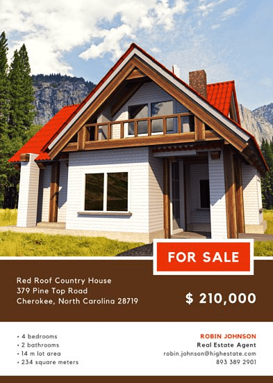Red Roof real estate by Canva real estate flyer example