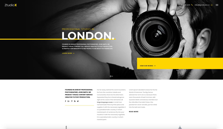 Themeforest - Ztudio X Theme - best wordpress photography themes