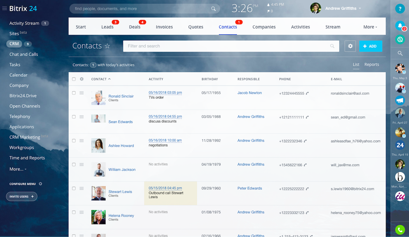 Bitrix24 contact management screen