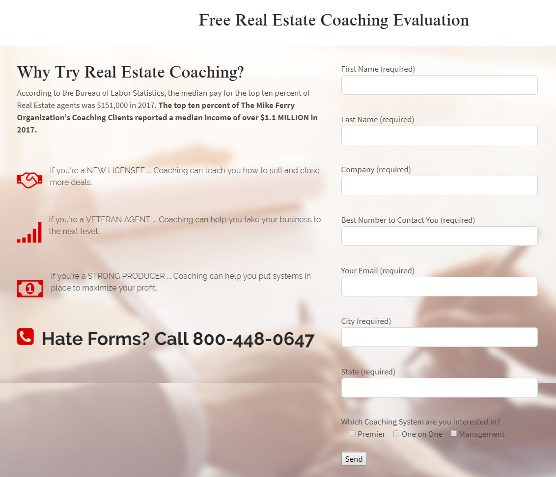 Mike Ferry Free Real Estate Coaching Evaluation - best real estate coaches
