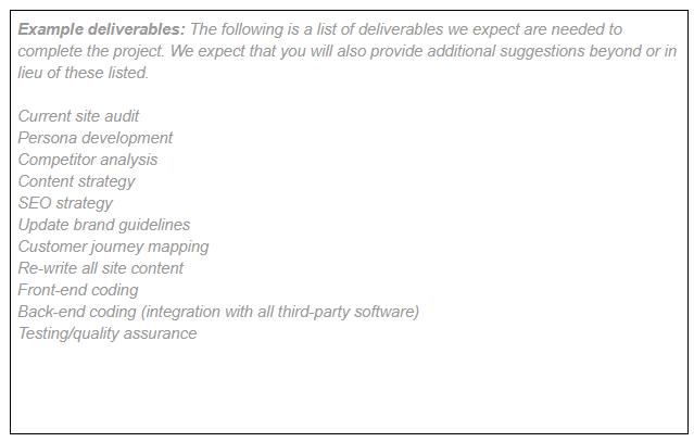 List your deliverables - request for proposal