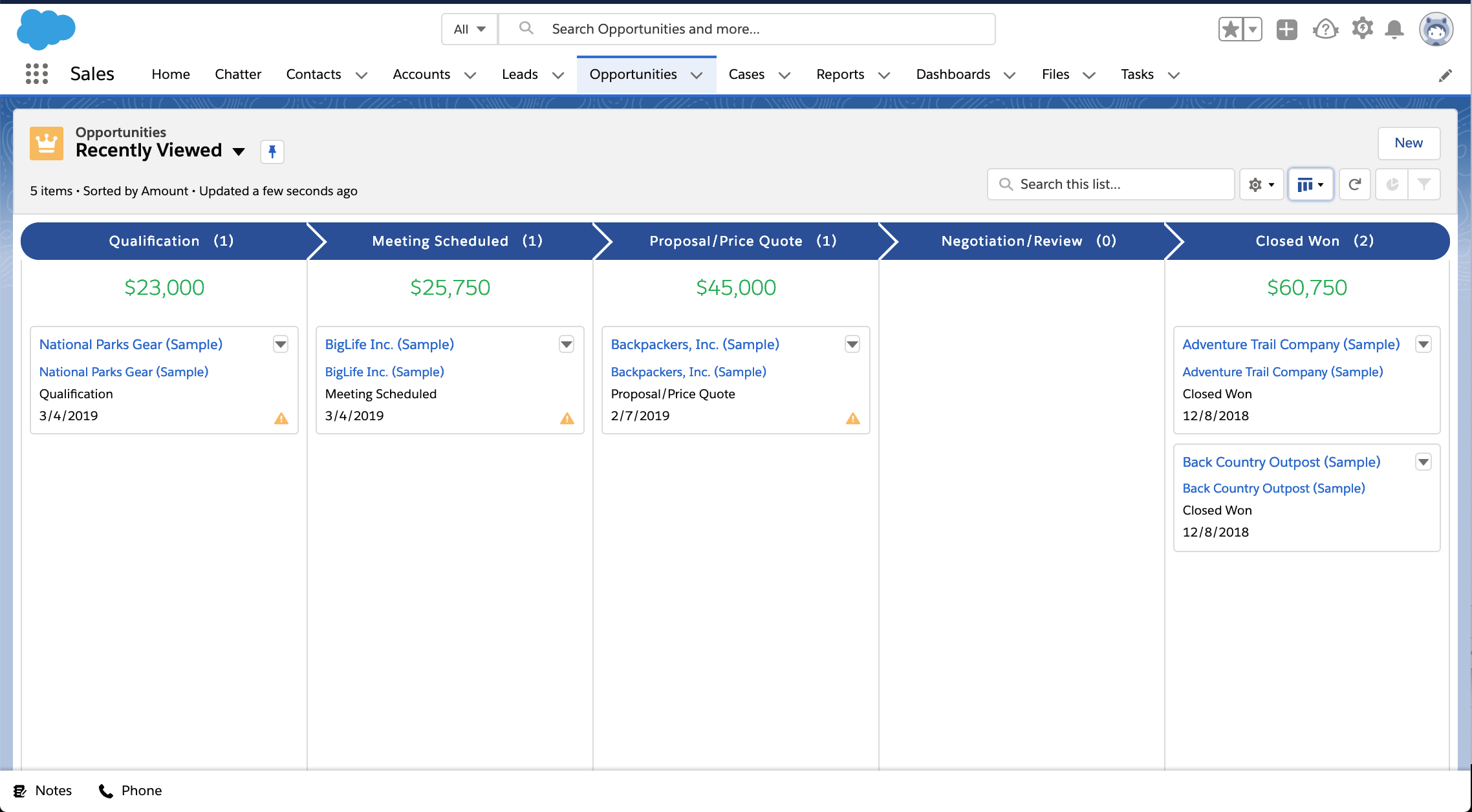 Salesforce sales opportunities pipeline screenshot