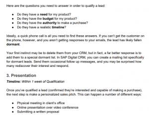 Sales cycle checklist