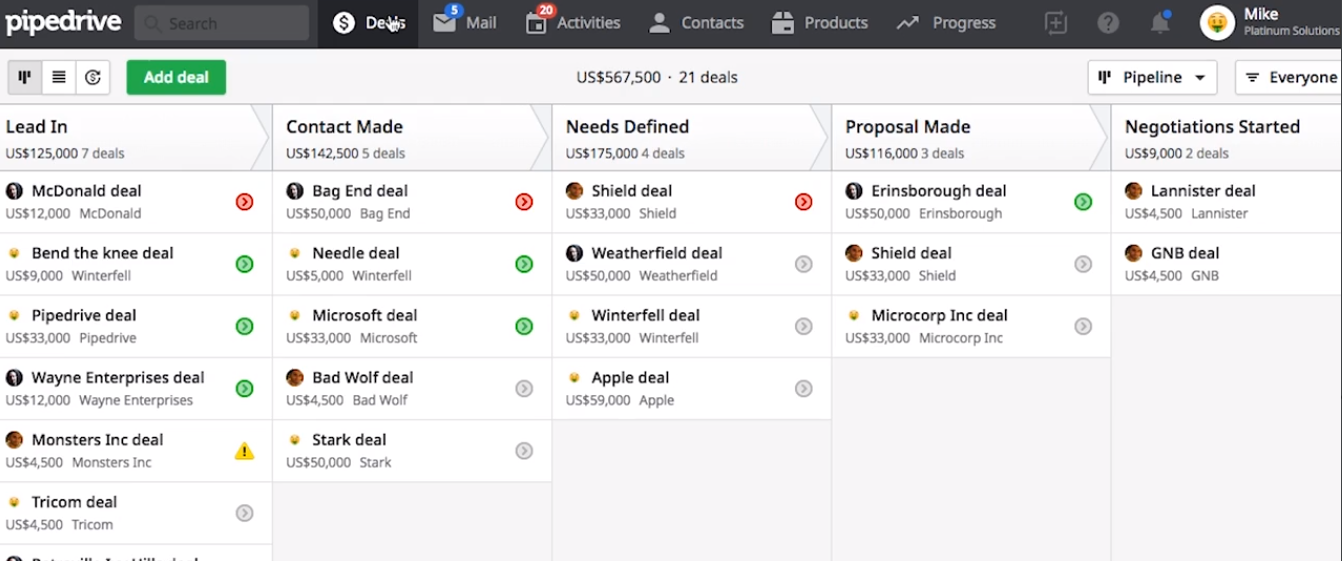 drag and drop leads in Pipedrive