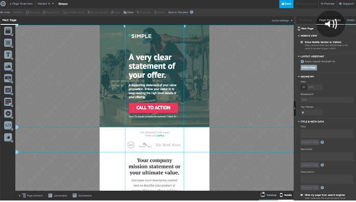 Unbounce - landing page