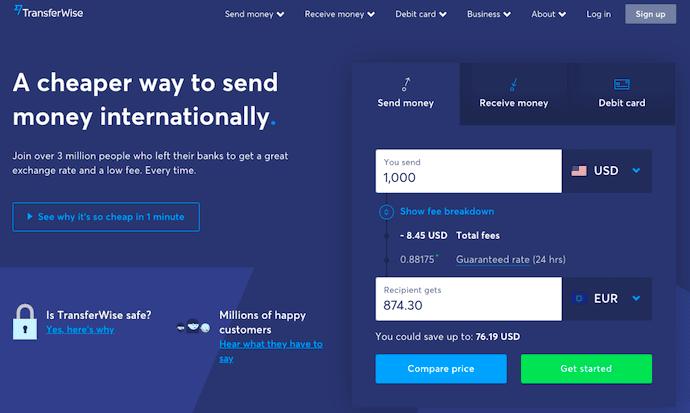 TransferWise - landing page