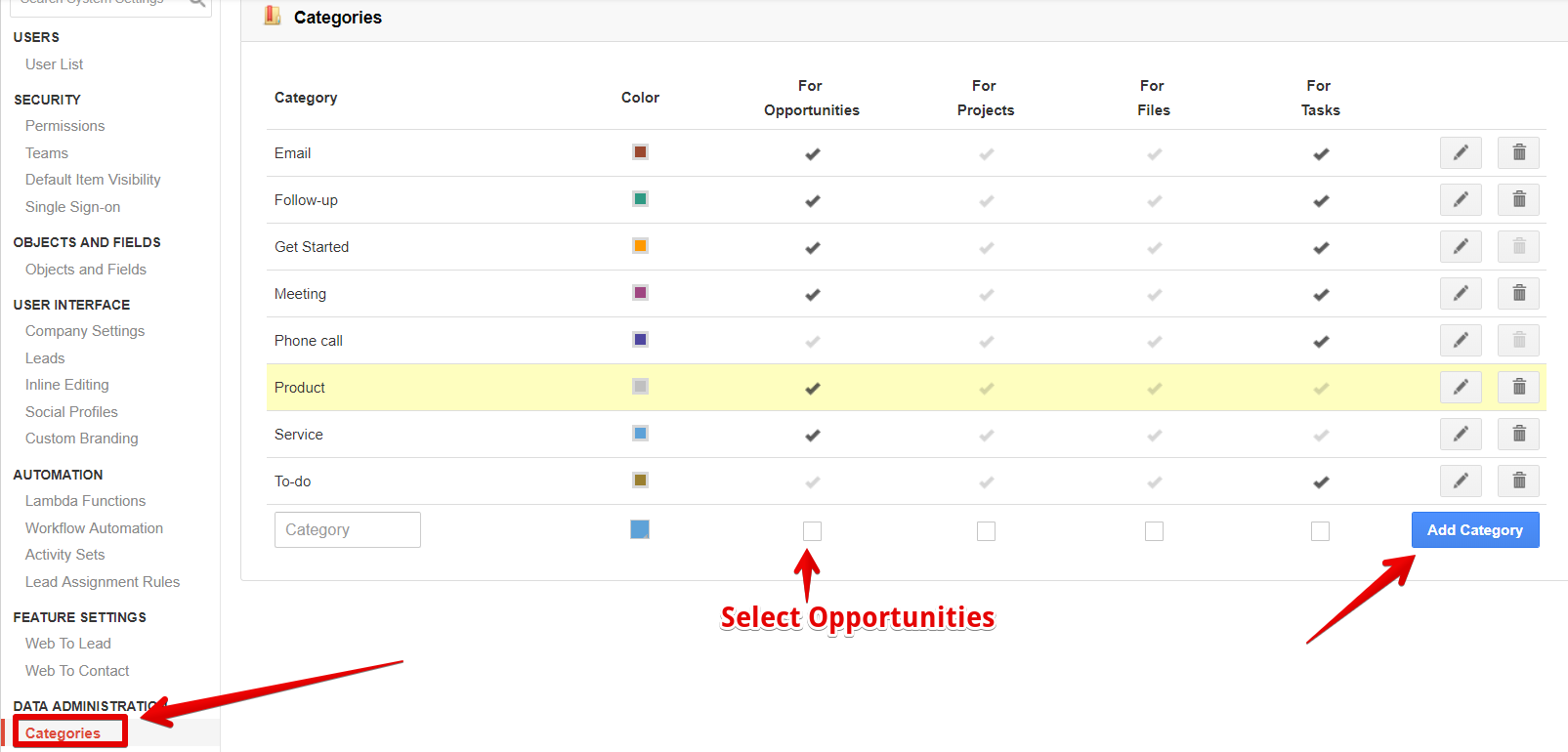 Adding categories in insightly