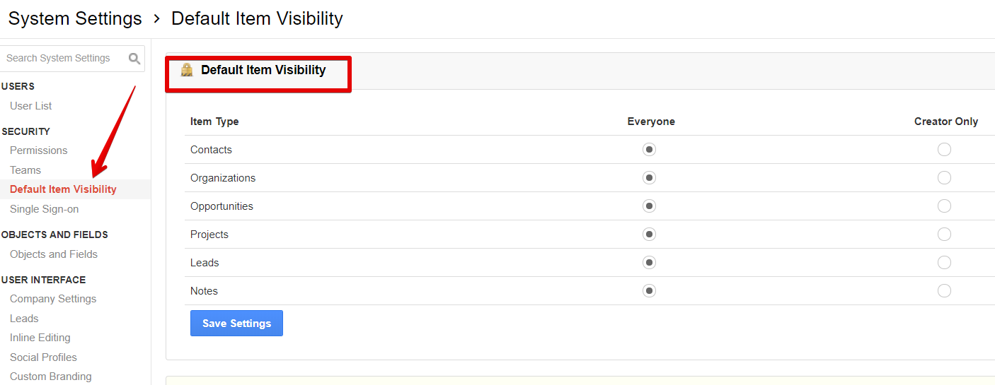 Setting up visibilty in insightly