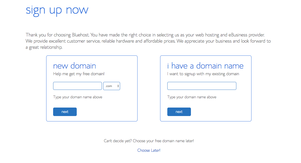 choosing a domain screen on Bluehost