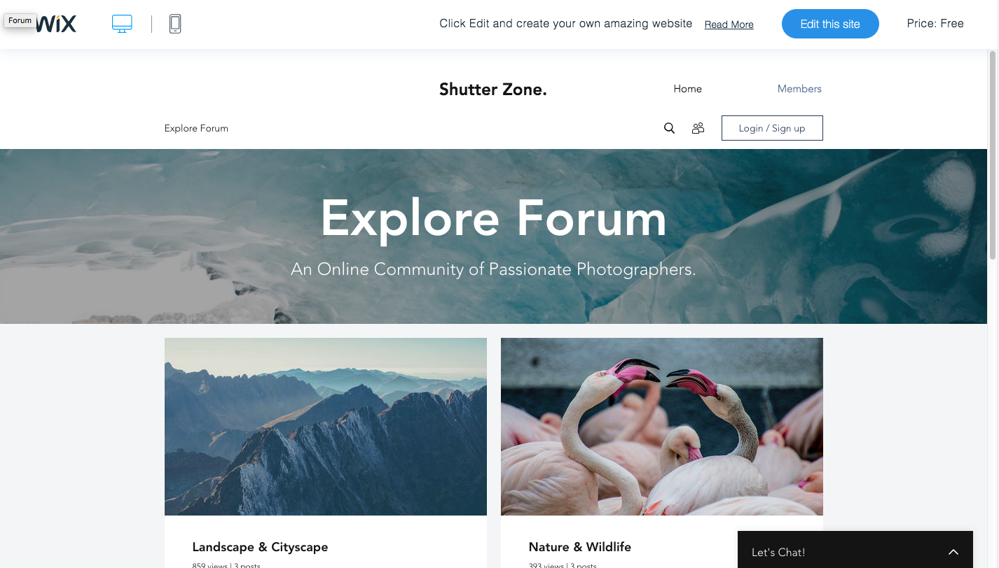 wix forum homepage