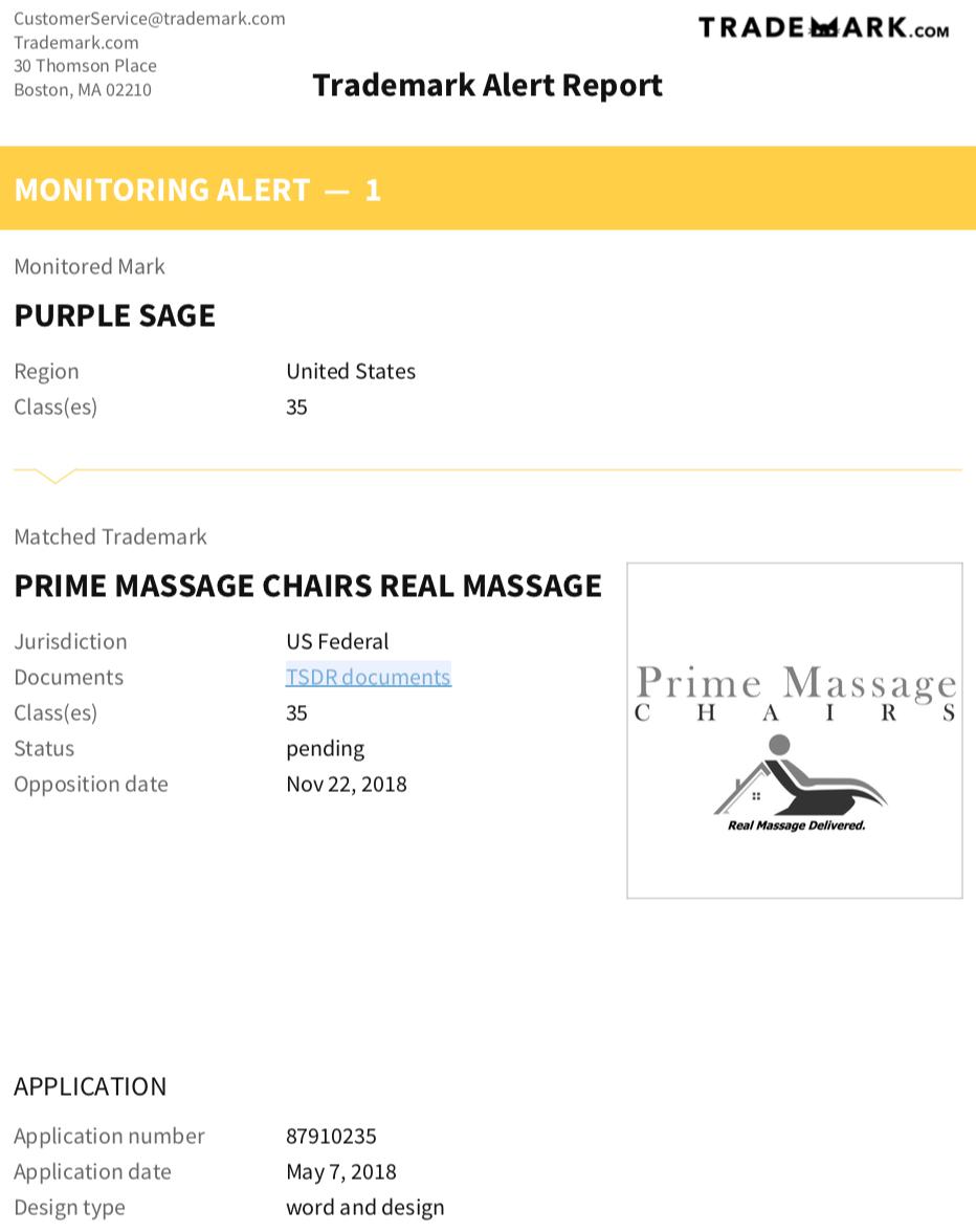 trademark.com alert report
