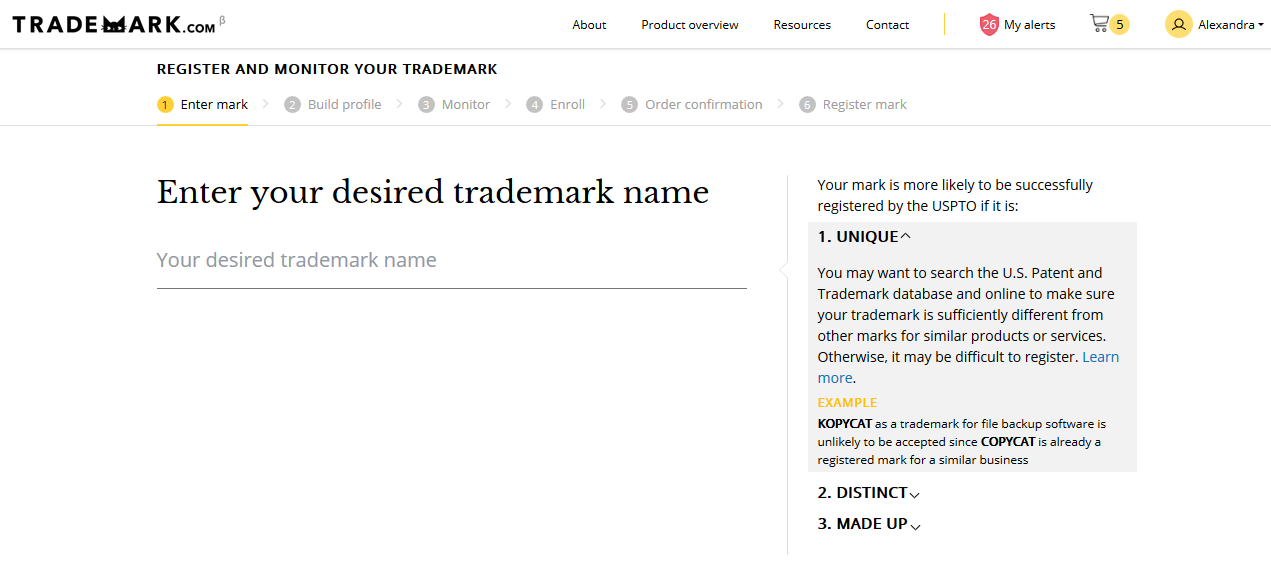 Registering your trademark with Trademark.com