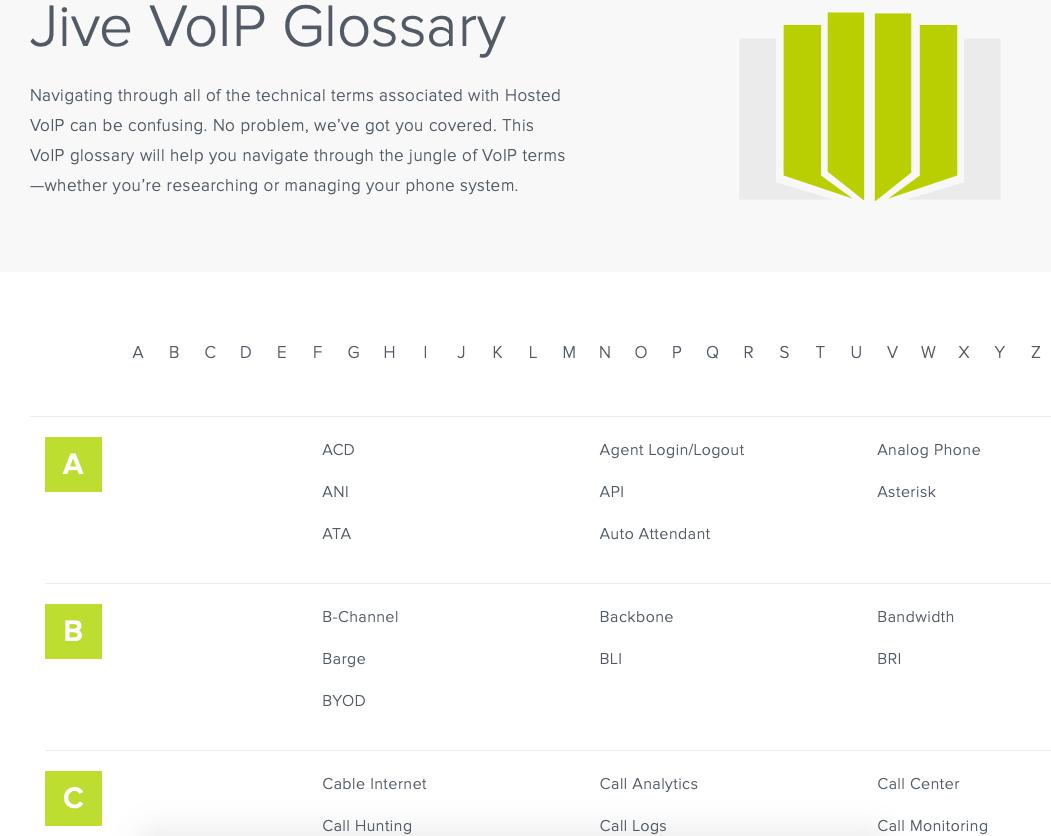 Jive VoIP Glossary