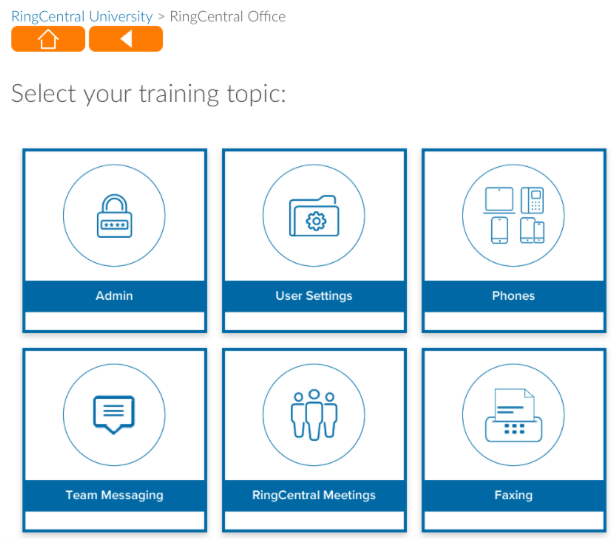 RingCentral's training topics