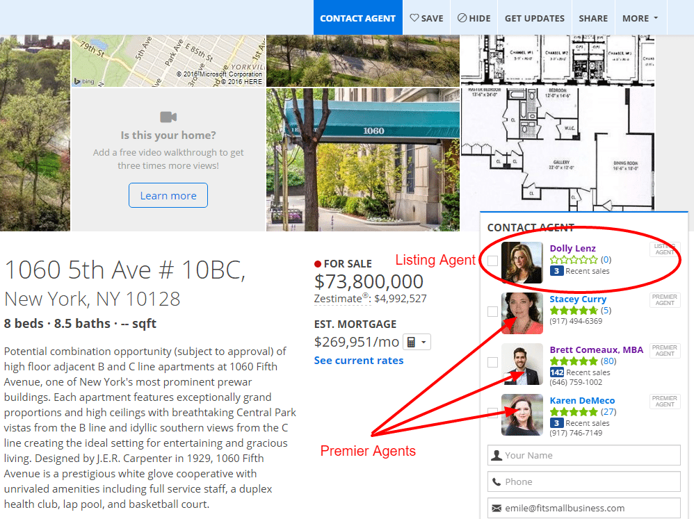 Zillow Premier Agent Advertising - best real estate lead generation websites