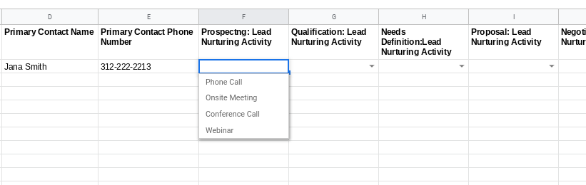 Lead nurturing drop down menu in Google Sheets - organizing sales leads