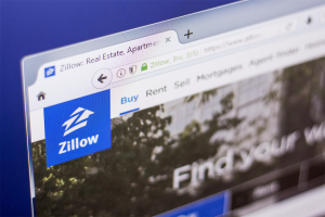 Zillow logo and homepage