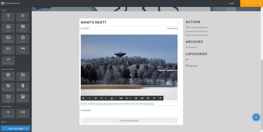 Weebly blog editor