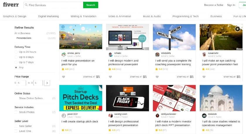 Screenshot of Fiverr Offering $5 Freelance Gigs