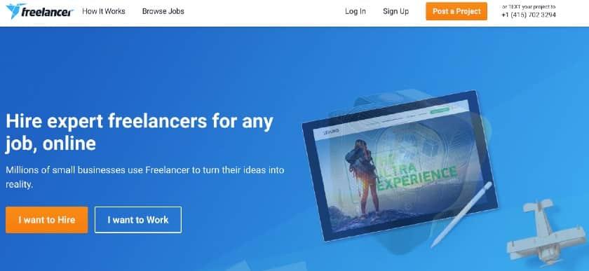 Screenshot of Freelancer.com Homepage