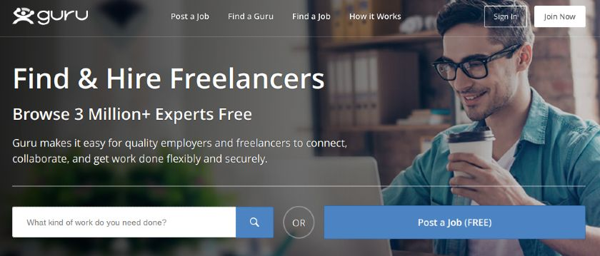 Screenshot of Guru Homepage