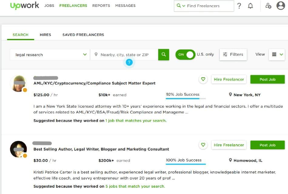 Screenshot of Upwork Showing Freelancer Details