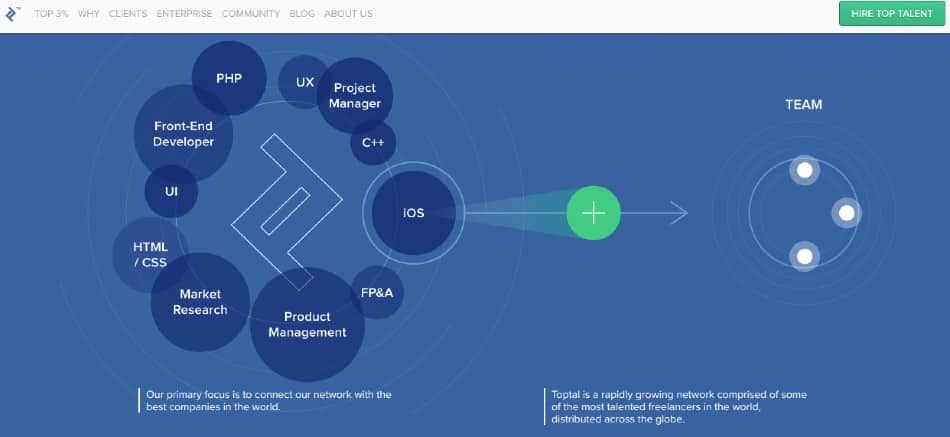 Screenshot of Toptal Works with Pre-screened Engineering and Tech Freelancers