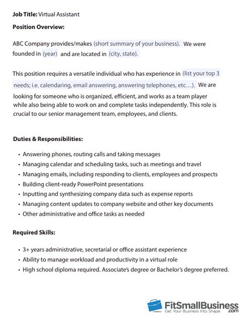Virtual Assistant Job Description template - how to hire a virtual assistant