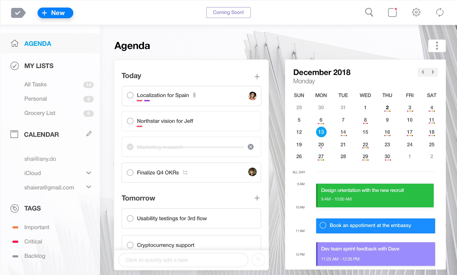 Any.do Agenda Dashboard