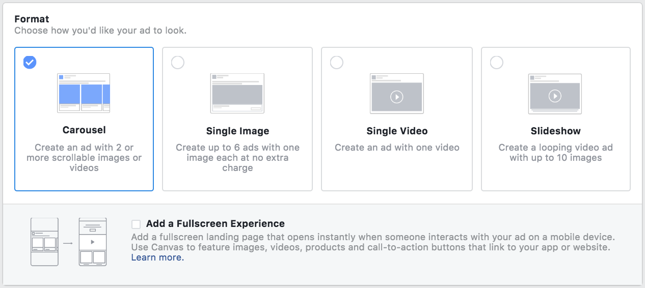 Facebook ad format options - facebook advertising