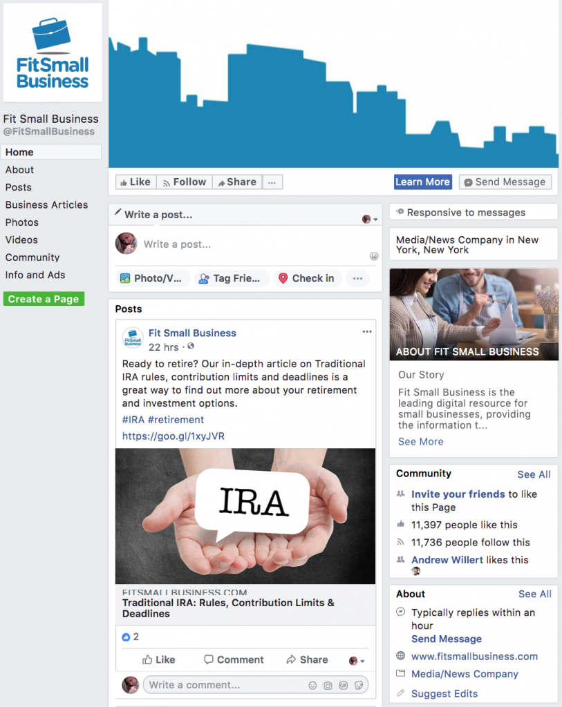 FitSmallBusiness Facebook page - facebook advertising