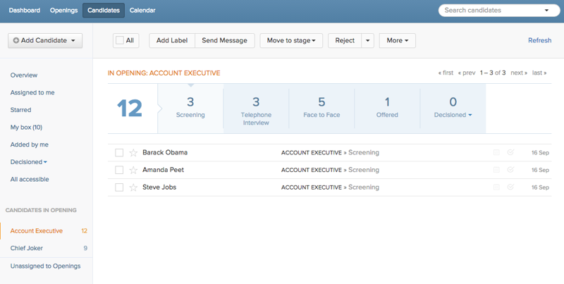 recruiterbox applicant tracking dashboard