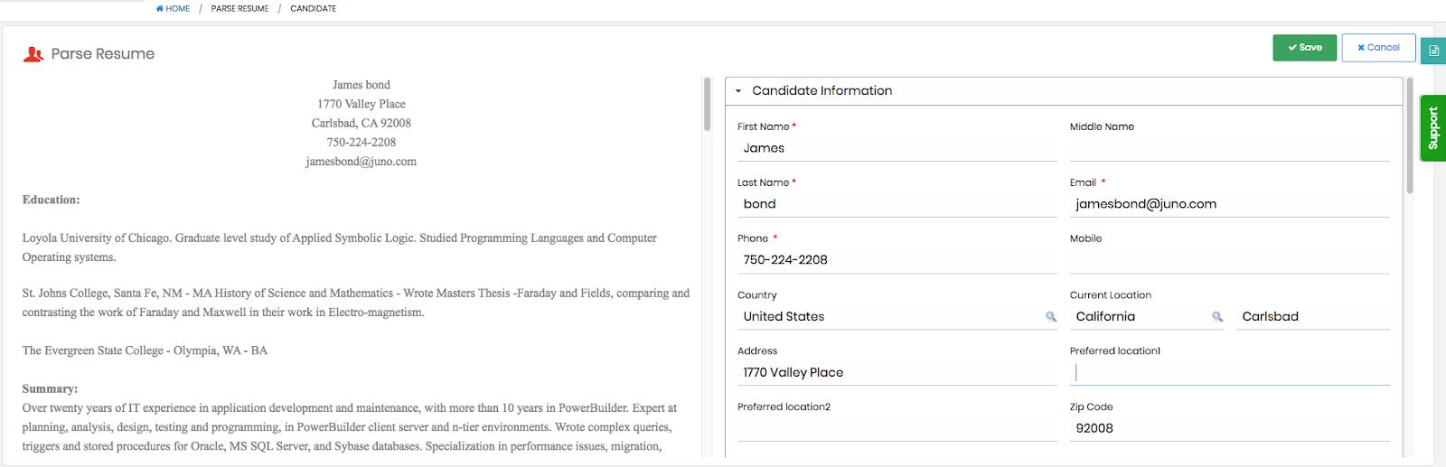 vultus recruit resume parsing tool