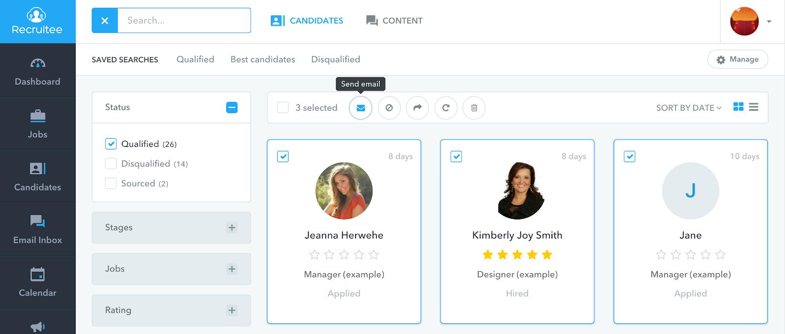example of recruitee's user interface