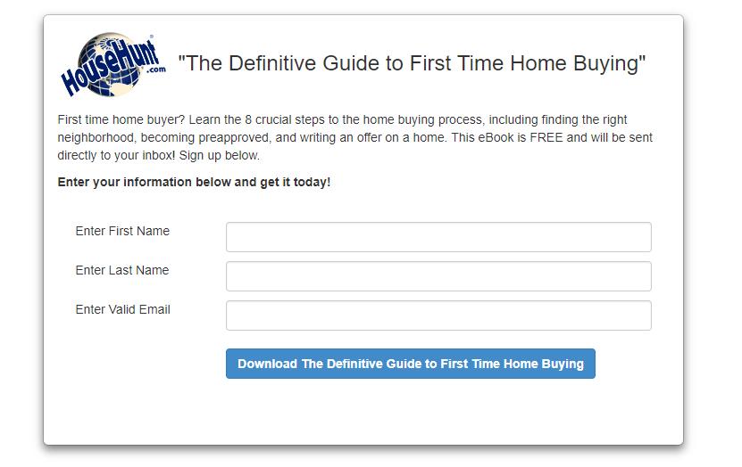 HouseHunt.com landing page - real estate landing pages