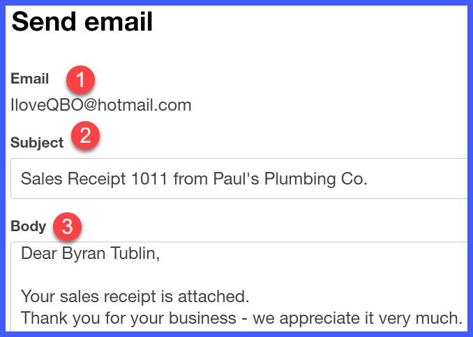 quickbooks online sales receipt