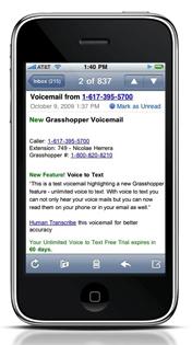 Grasshopper Visual Voicemail mockup