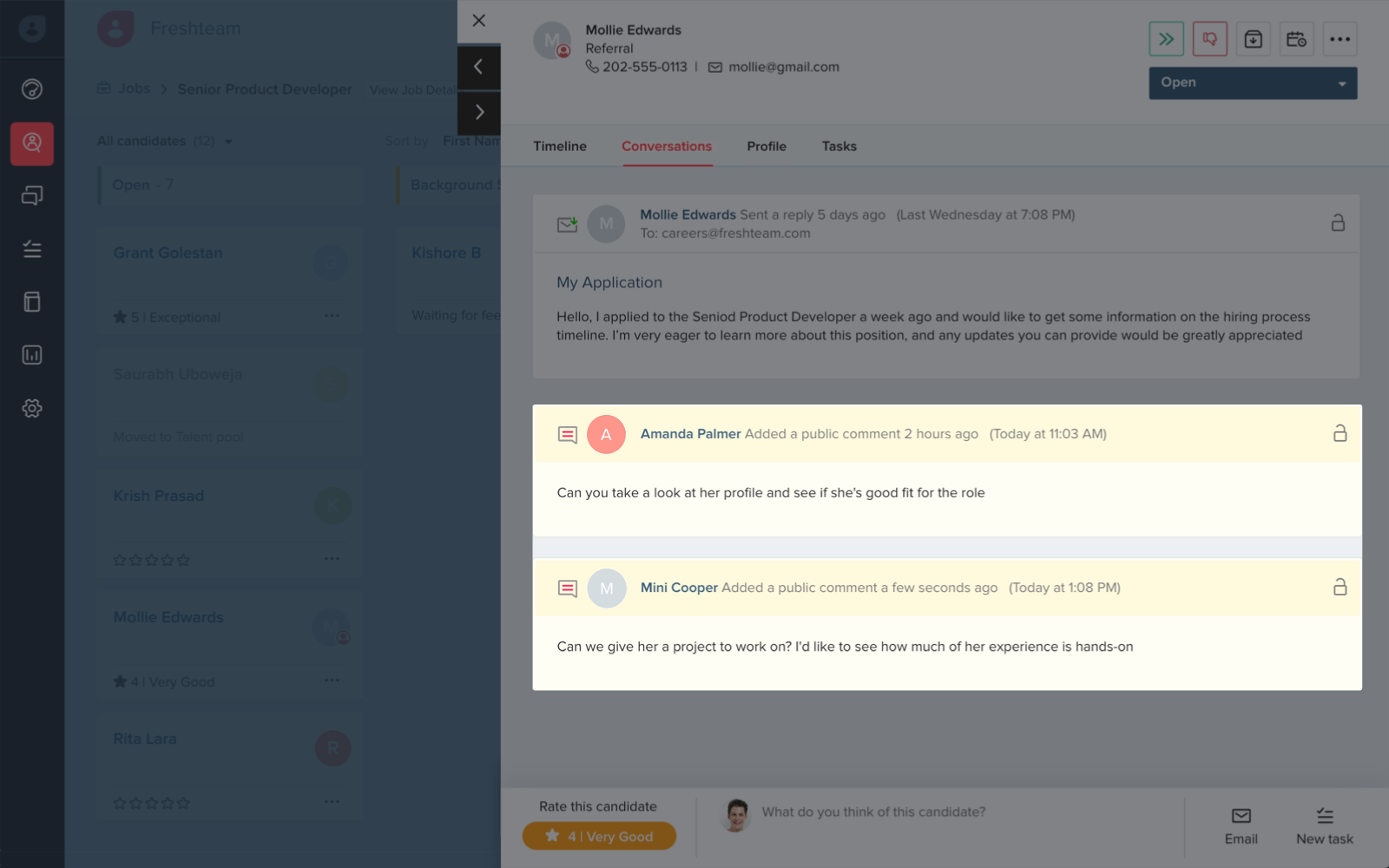 example of how you can leave notes in freshteam's interface