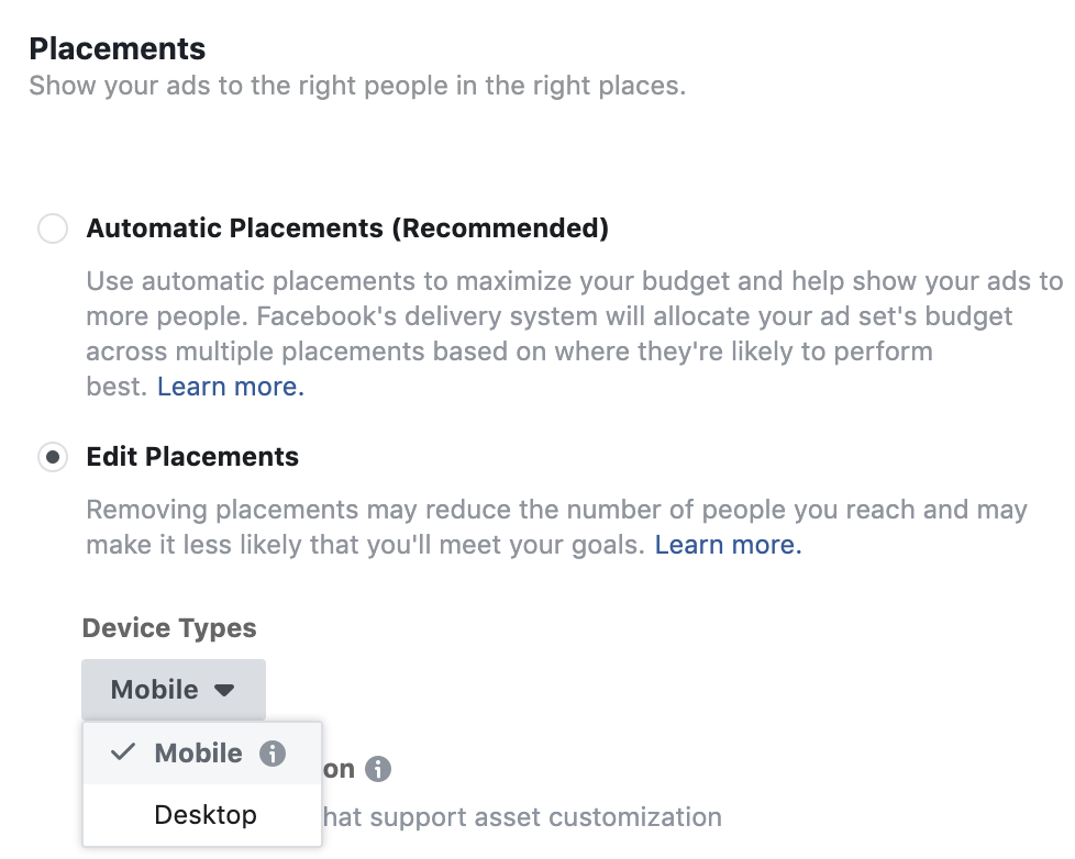 platform and device editing tool - facebook advertising
